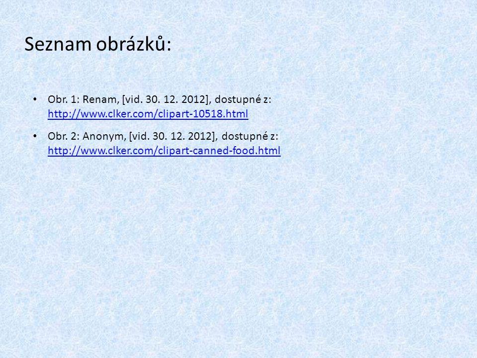 Seznam obrázků: Obr. 1: Renam, [vid. 30. 12. 2012], dostupné z: http://www.clker.com/clipart-10518.html.